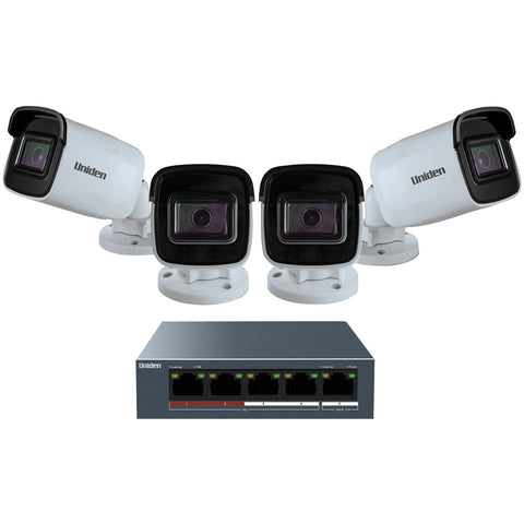 Uniden 1080p Outdoor Security Cloud System With 5-port Poe Switch (4 Cameras)
