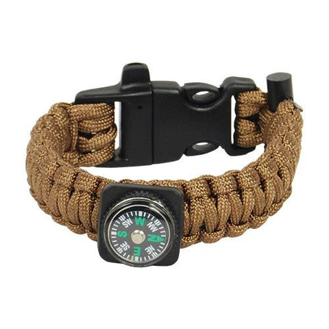 Paracord Bracelet with built in compass, flint bar, and emergency whistle. The Bracelet has 10.5 feet of 550 paracord. The heavy duty
