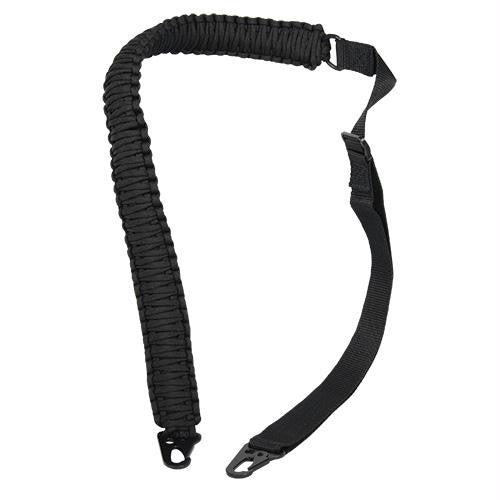 Paracord Rifle Sling is made of 58 feet of 550 paracord and has metal clips to clip onto a rifle. It has an adjustable nylon strap to fit