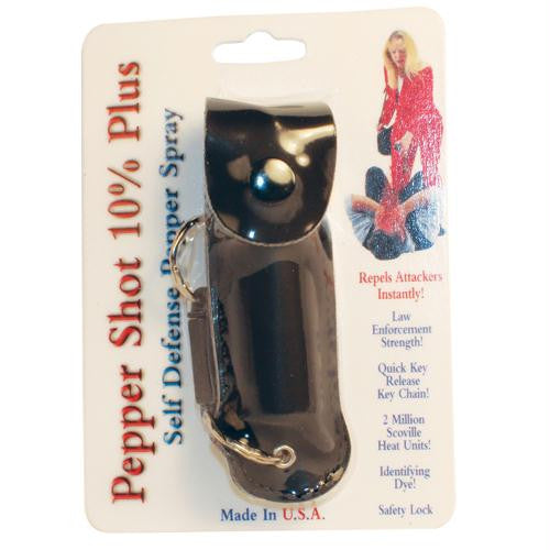Pepper Shot 1-2 oz w-Black Leatherette Holster & Quick Key Release Key Chain