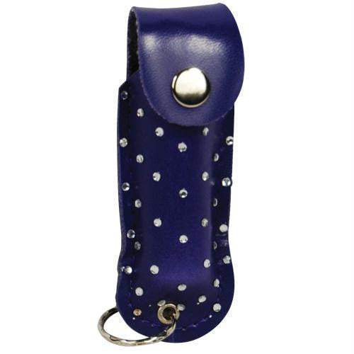 Pepper Shot 1-2 ounce rhinestone leatherette holster blue, and key ring. Effective up to 8 feet. Contains 5 one second bursts.