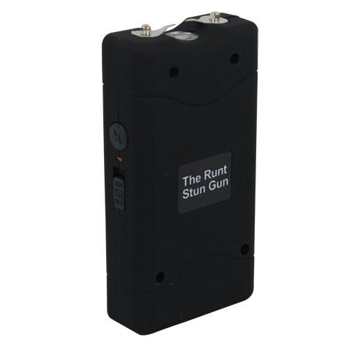 Rechargeable Runt 20,000,000 volt stun gun with flashlight and wrist strap disable pin Black