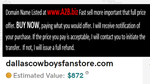 DallasCowboysFanStore.com  Domain Name