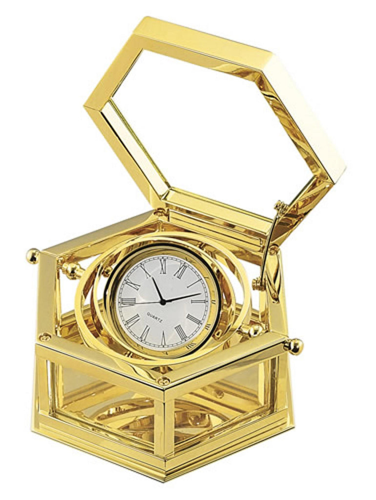 Sea of Diamonds 24K Gold Plated Hexagon Desk Clock