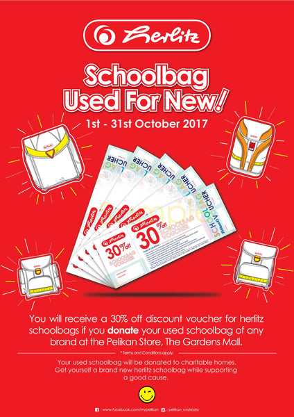 SCHOOLBAGS USED FOR NEW 1 - 31 OCTOBER 2017