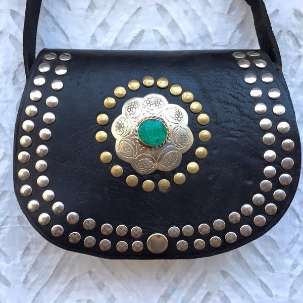 Sea Green Moroccan Flower Leather Bag