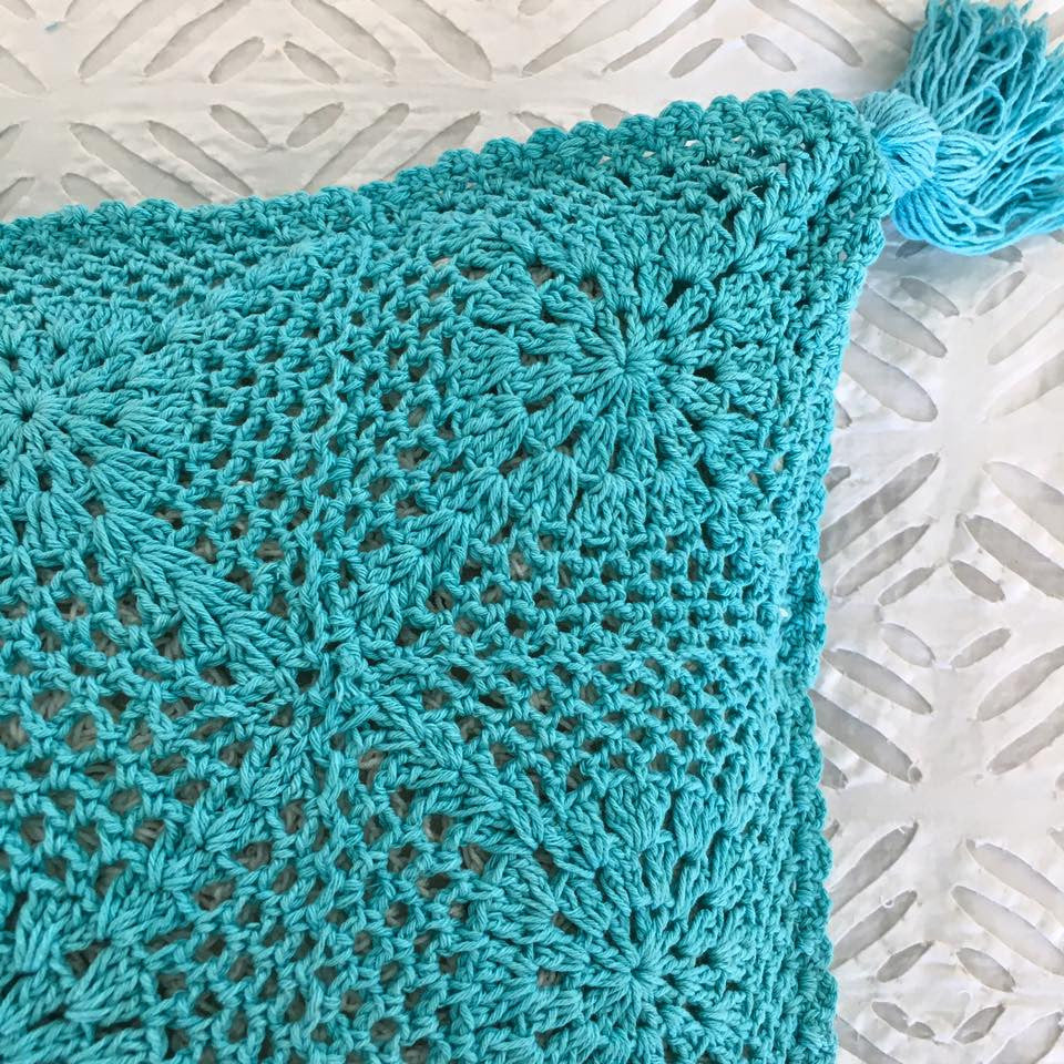 Crochet Cushion Cover- Turquoise