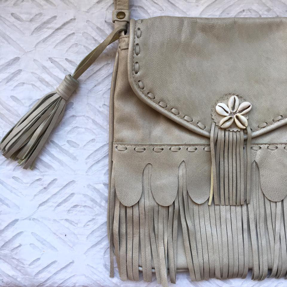 Cowrie Tassel Leather Bag -White Sands