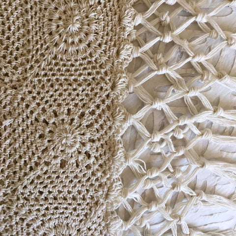 Crochet Throw- Natural or Charcoal grey