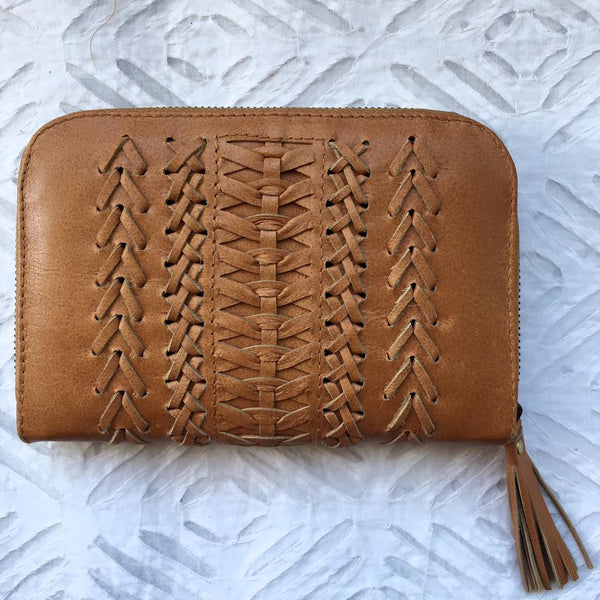 Braided Leather Love Purse. -Sand