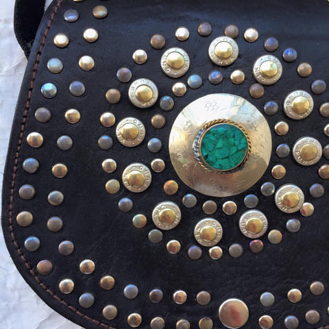 Emerald Leather Moroccan handbag