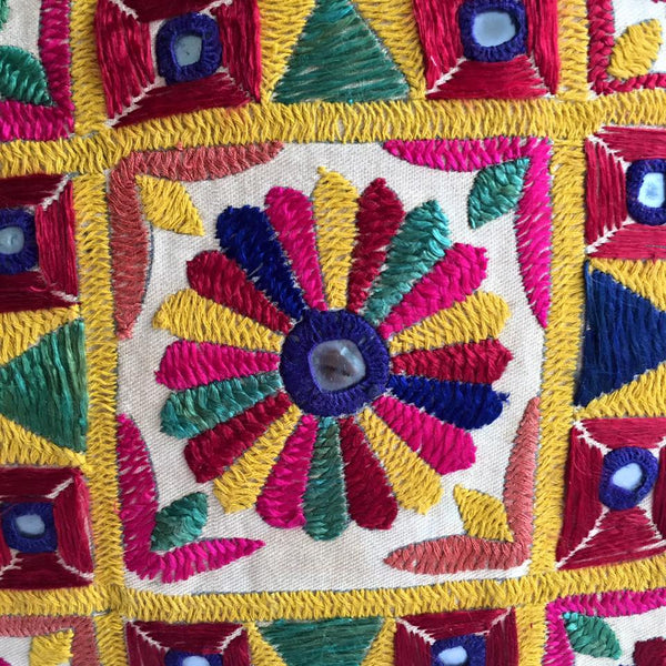 Hand Embroidered Vintage Banjara Tribal Textile Cushion Cover