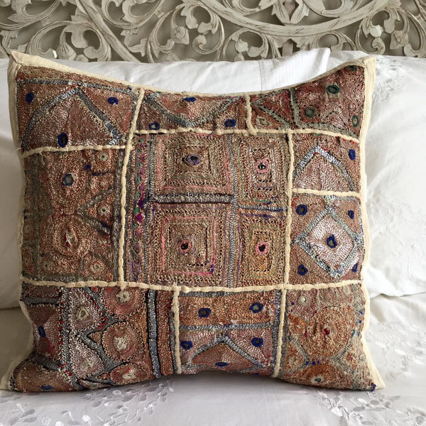 Hand Stitched Beaded Cushion Cover
