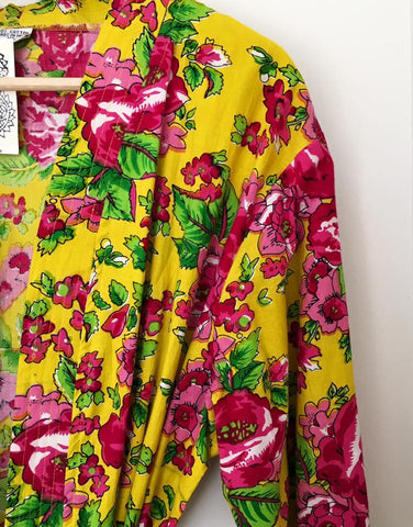 BEAUTIFUL LADIES FULL LENGTH YELLOW FLORAL COTTON DRESSING GOWN