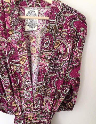 BEAUTIFUL LADIES FULL LENGTH MAGENTA PAISLEY COTTON DRESSING GOWN
