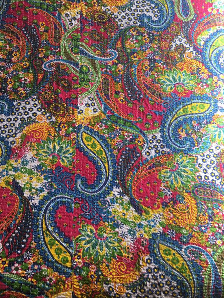 Indian Paisley Kantha Quilt