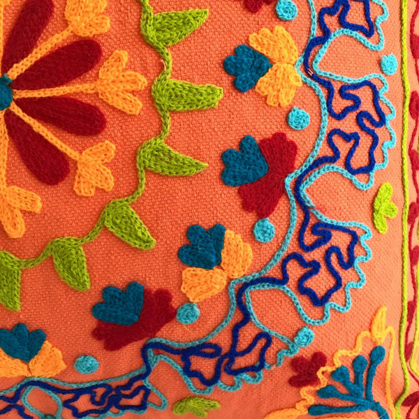 Beautiful Suzani Cushion - Orange