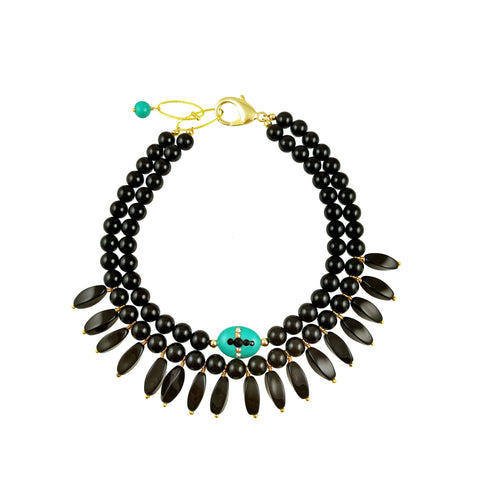 VALIA BLACK- Rosario black Necklace with crystal drop