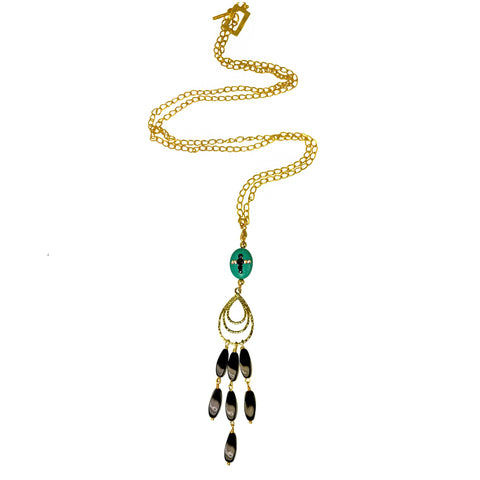 VASIA-Brown pearl long Necklace with Tassel