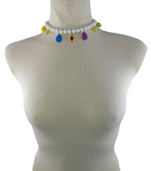 ARIA- White short Necklace with charms - MARIA MOSS
