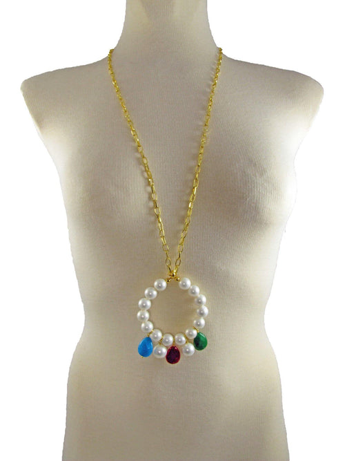 ELEONORA- Pearl and Gemstone long pendant - MARIA MOSS