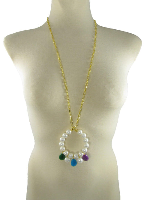 ELEONORA PURPLE- Pearl and Gemstone long pendant - MARIA MOSS