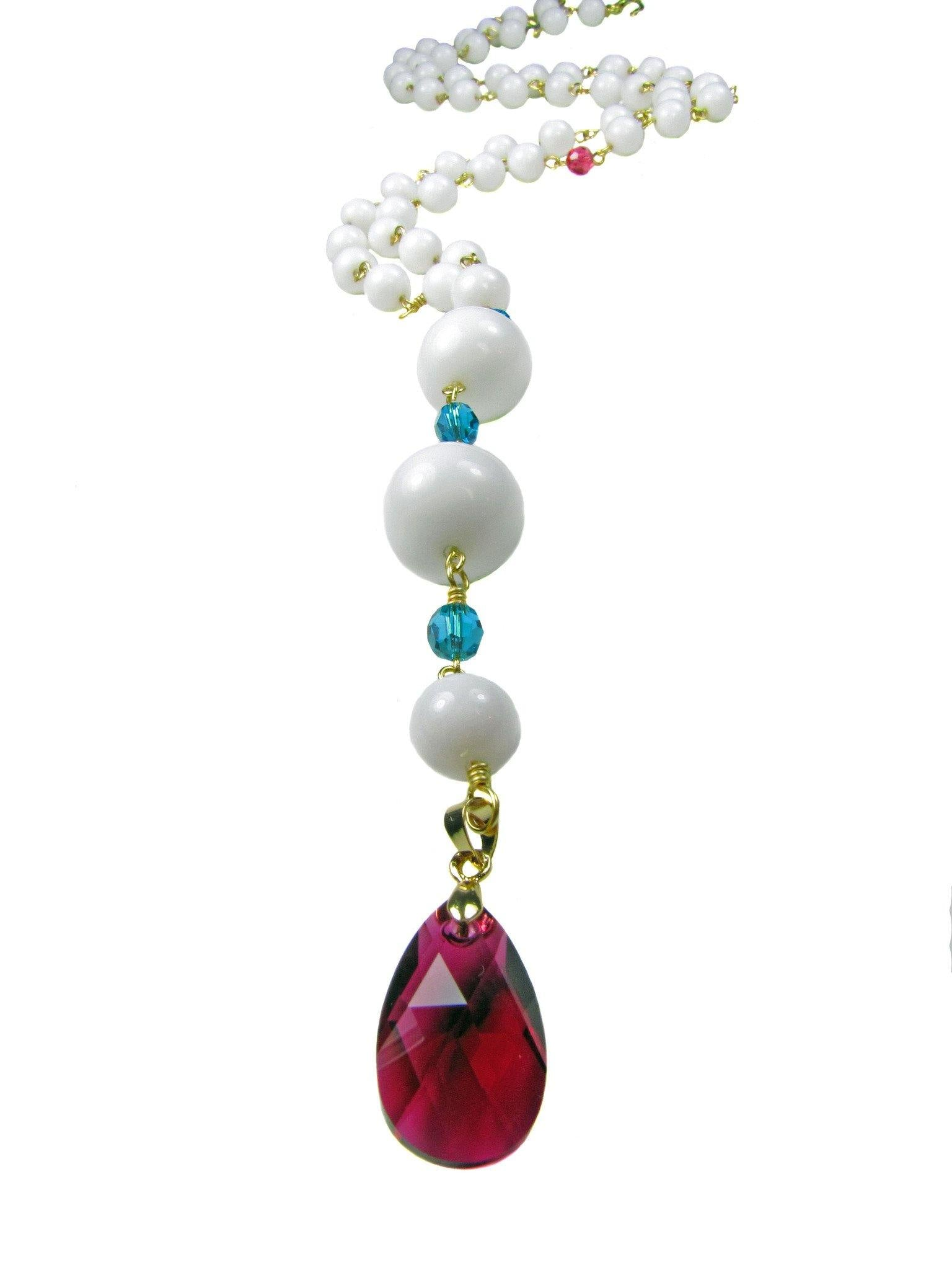 ELMA Necklace- Y white long Necklace with fuschia drop swarovski crystal - MARIA MOSS