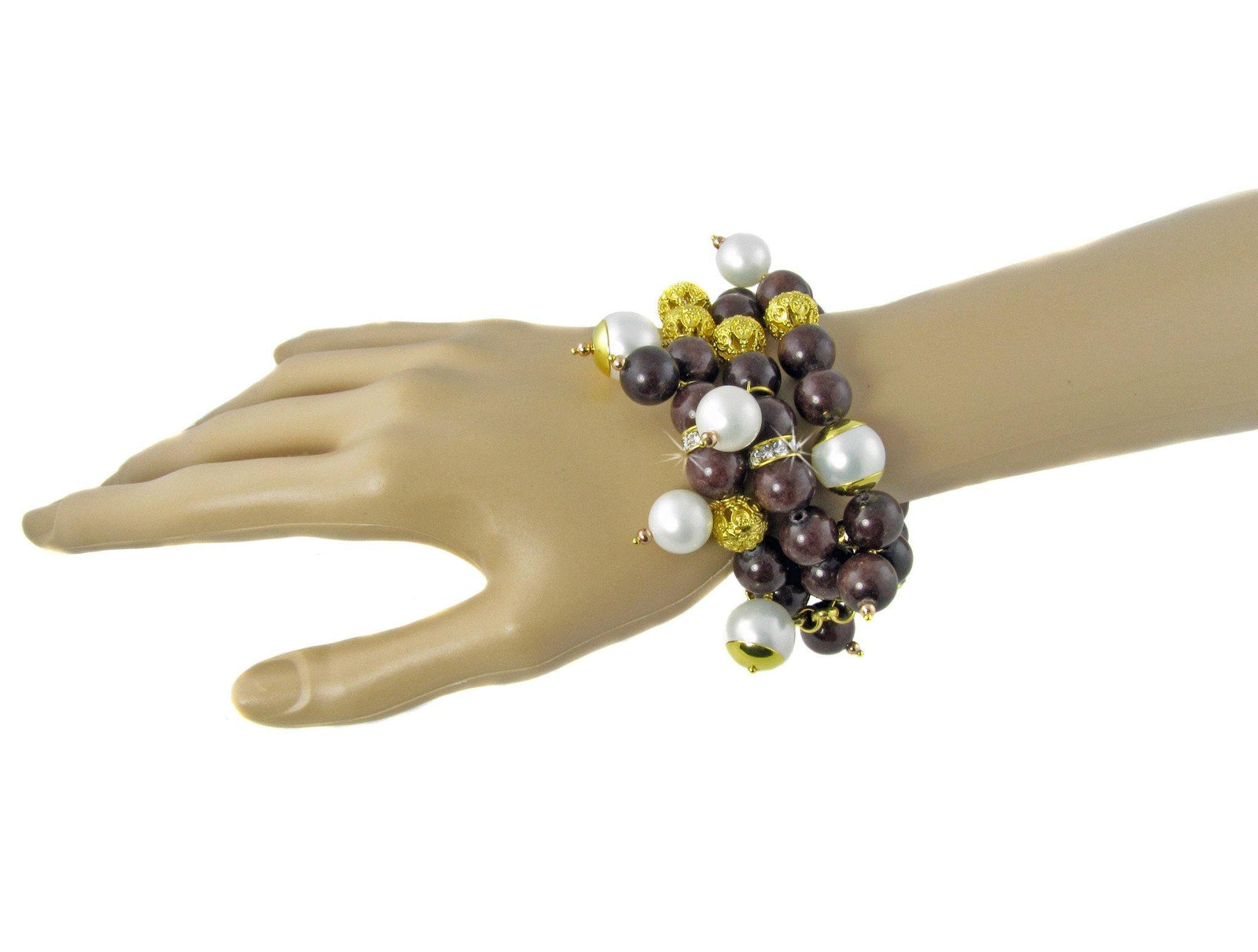 ELPIDA- chunky brown bracelet with pearls and filigree beads -maria-moyseos