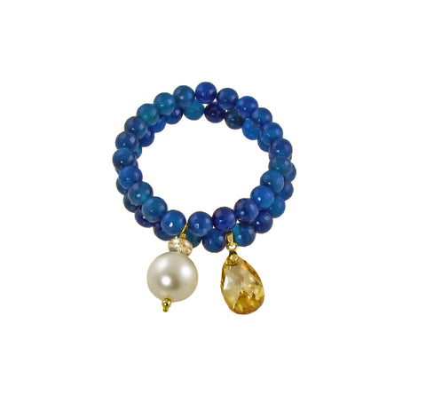 LENA- Electric blue chunky bracelet with swarovski crystals