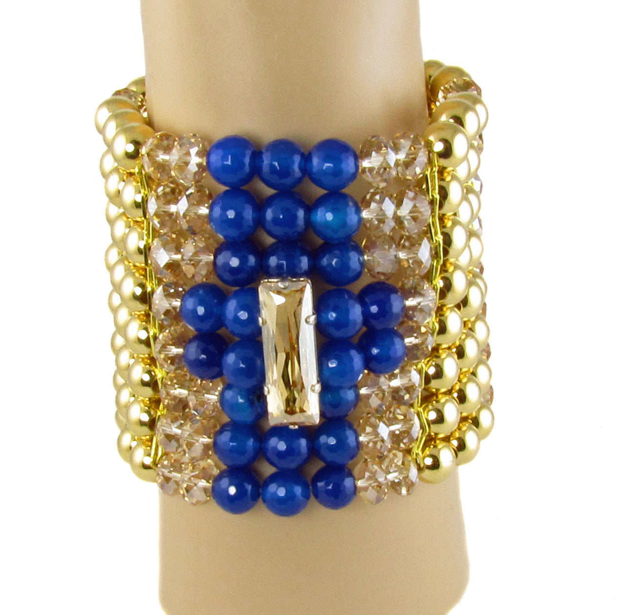 LENA- Electric blue chunky bracelet with swarovski crystals - MARIA MOSS