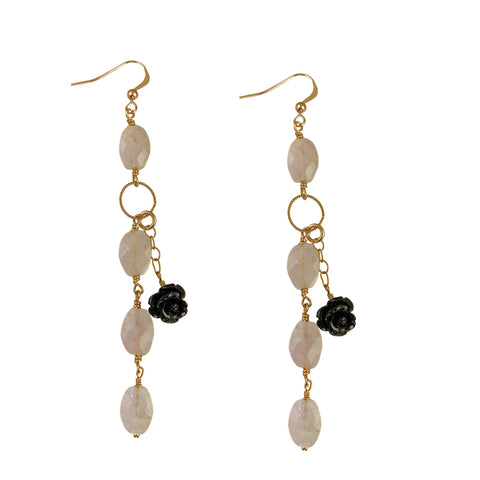 ELMA- Earrings with fuschia drop swarovski crystals