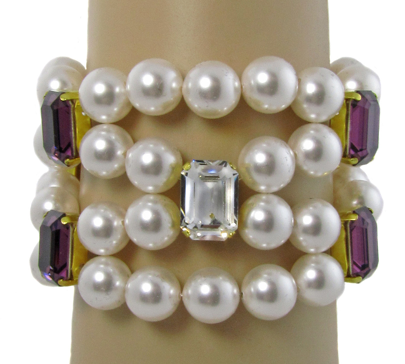 VANESSA- Pearl multi strand Bracelet with mauve and clear shade swarovski fancy stones -maria-moyseos