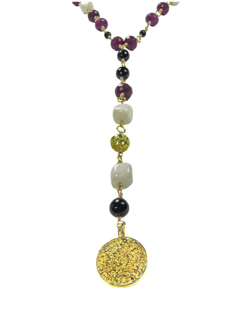 Victoria Gemstone long necklace -maria-moyseos