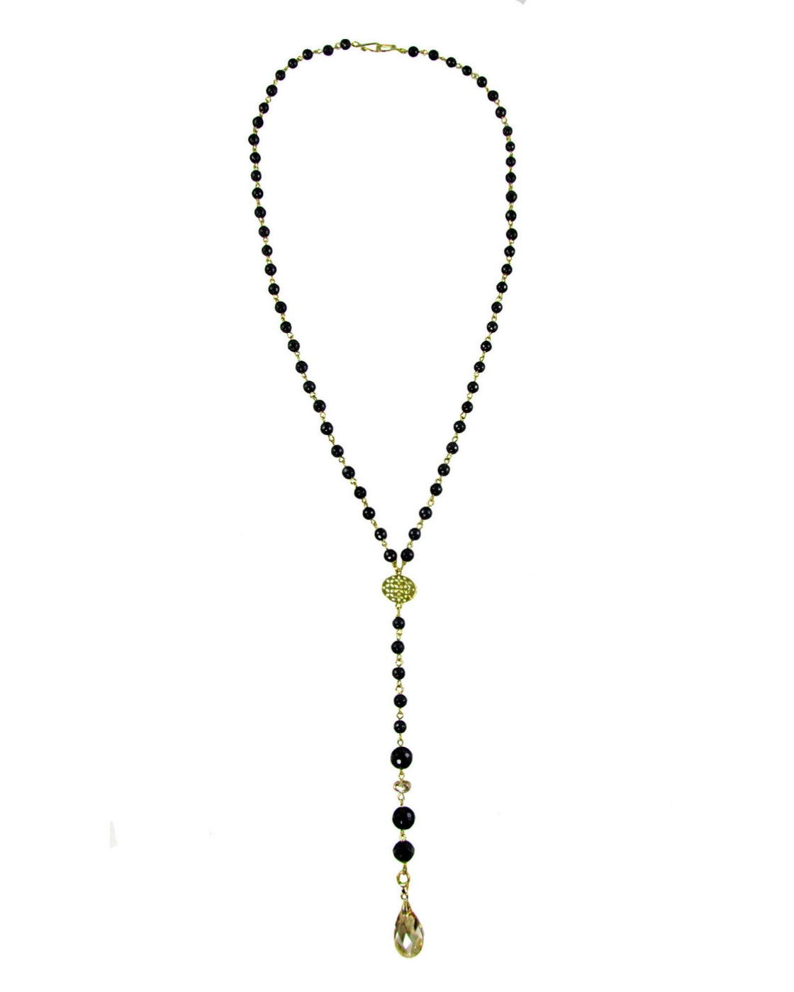 VALIA BLACK- Rosario black Necklace with crystal drop - MARIA MOSS