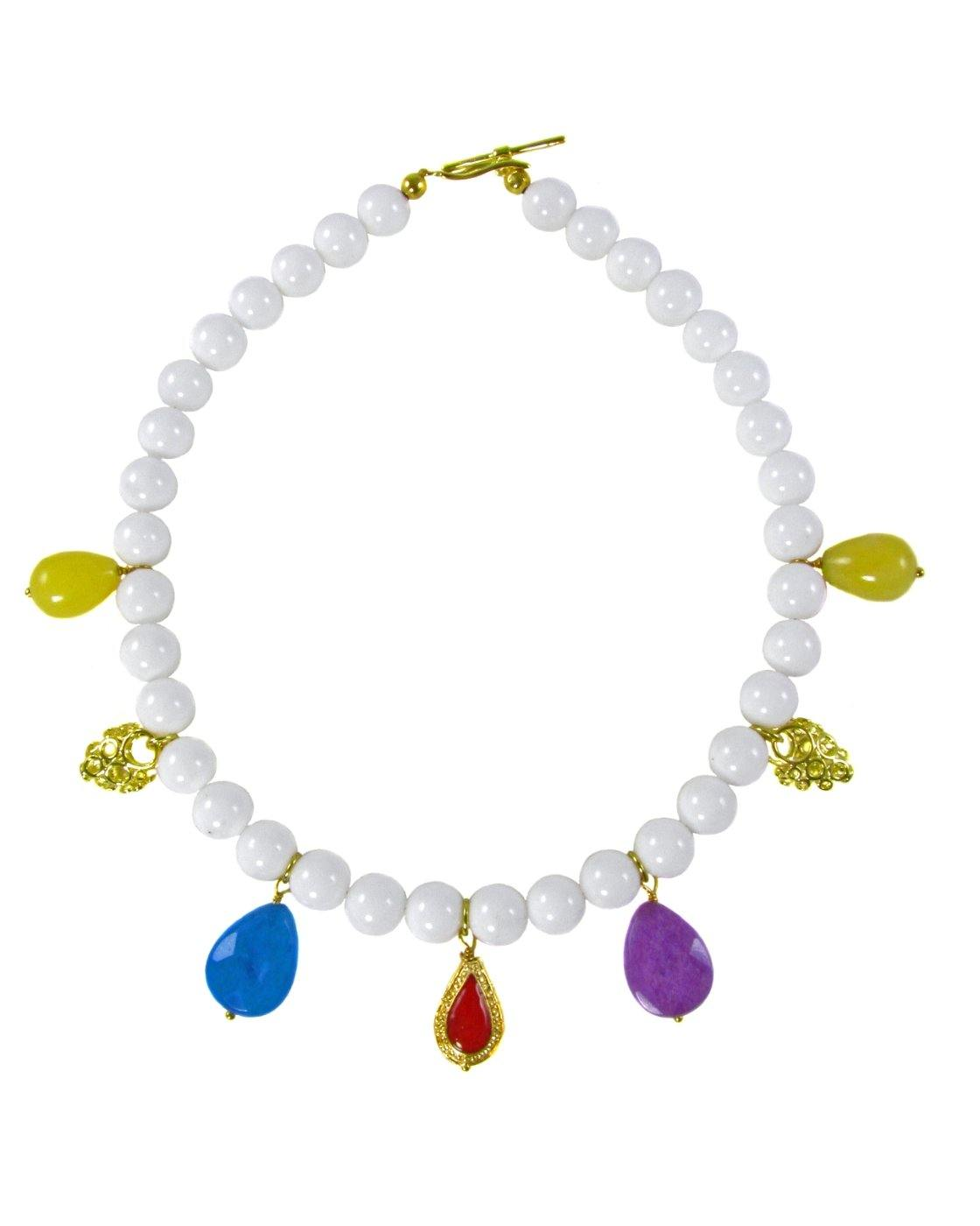 ARIA- White short Necklace with charms -maria-moyseos