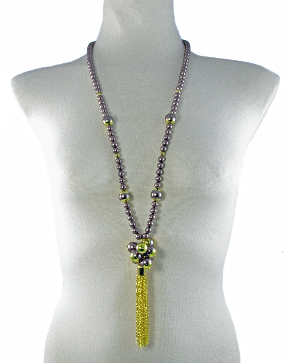 VASIA-Brown pearl long Necklace with Tassel -maria-moyseos