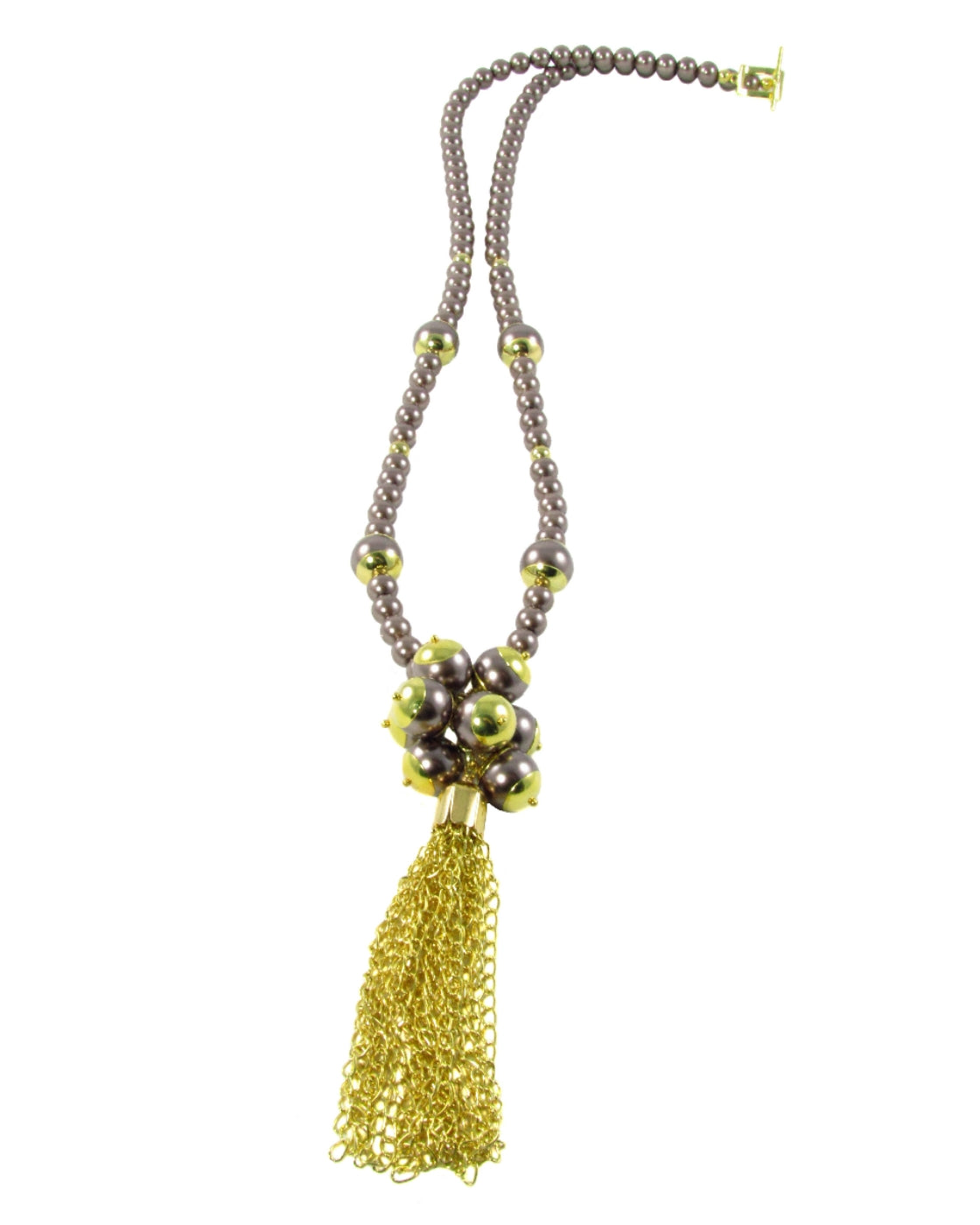 VASIA-Brown pearl long Necklace with Tassel - MARIA MOSS