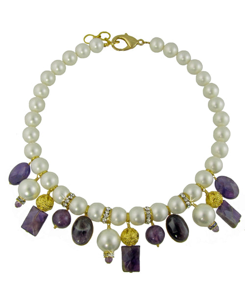 VERA- Short pearl Necklace with amethyst stones -maria-moyseos