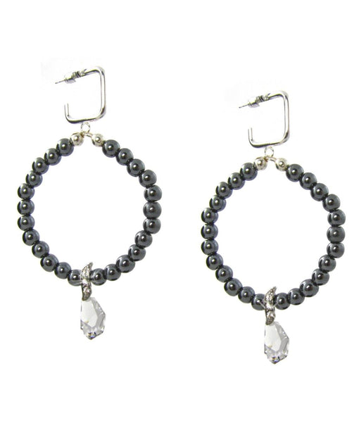 DENA Hematite Hoop Earrings -maria-moyseos