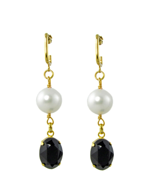 NONI -White pearl and Black swarovski stone drop Earrings -maria-moyseos