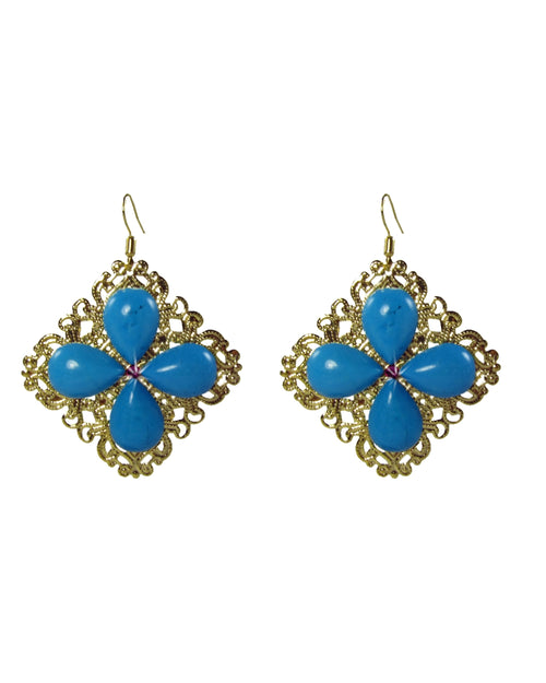 KALIA- Filigree earrings with turquoise drops -maria-moyseos