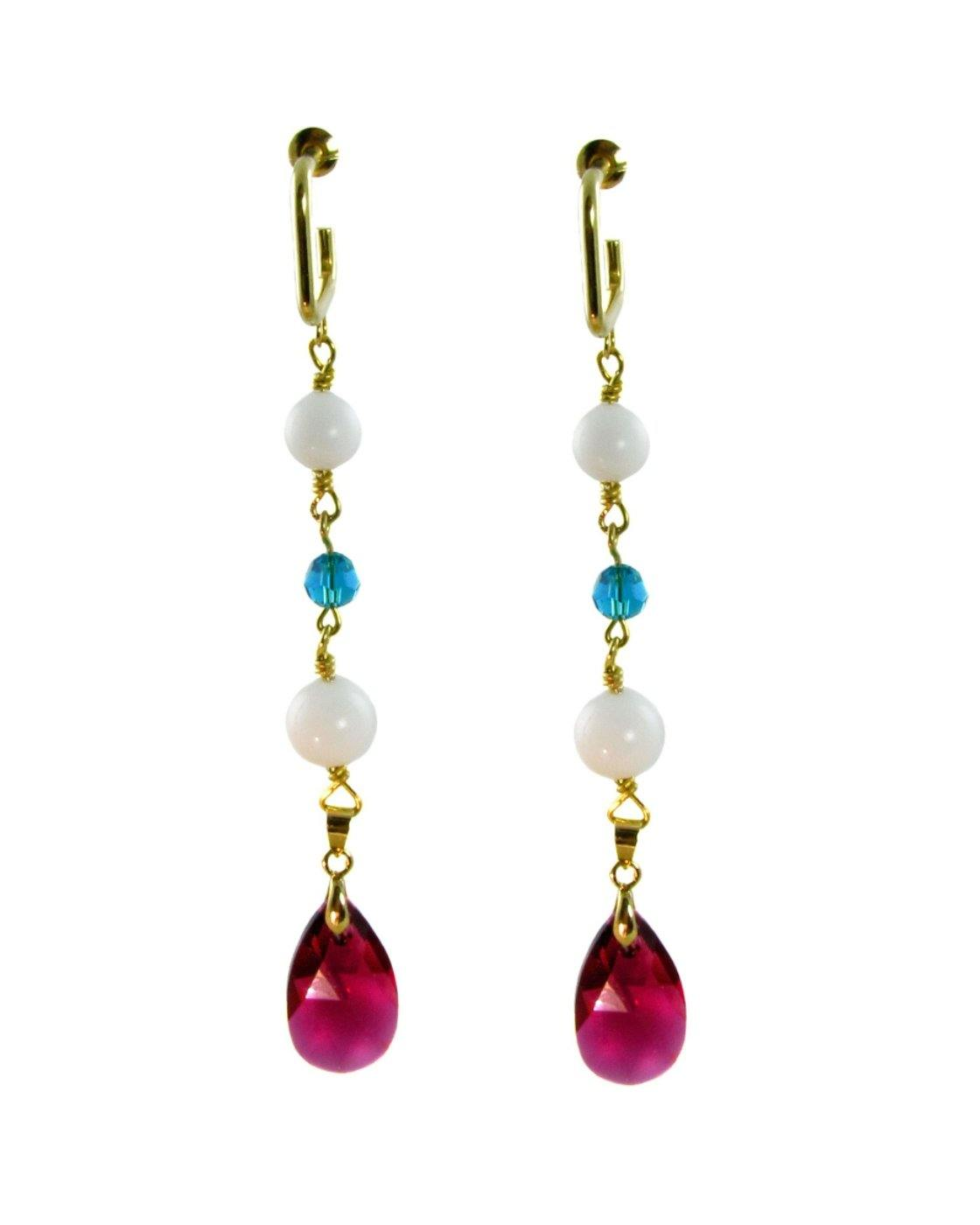 ELMA- Earrings with fuschia drop swarovski crystals -maria-moyseos