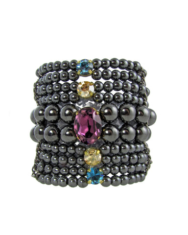 ERINA- Gemstone black bracelet with swarovski crystals