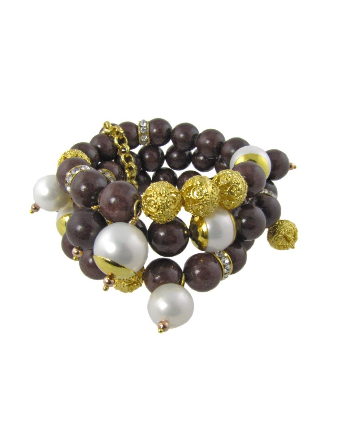 ELPIDA- chunky brown bracelet with pearls and filigree beads - MARIA MOSS