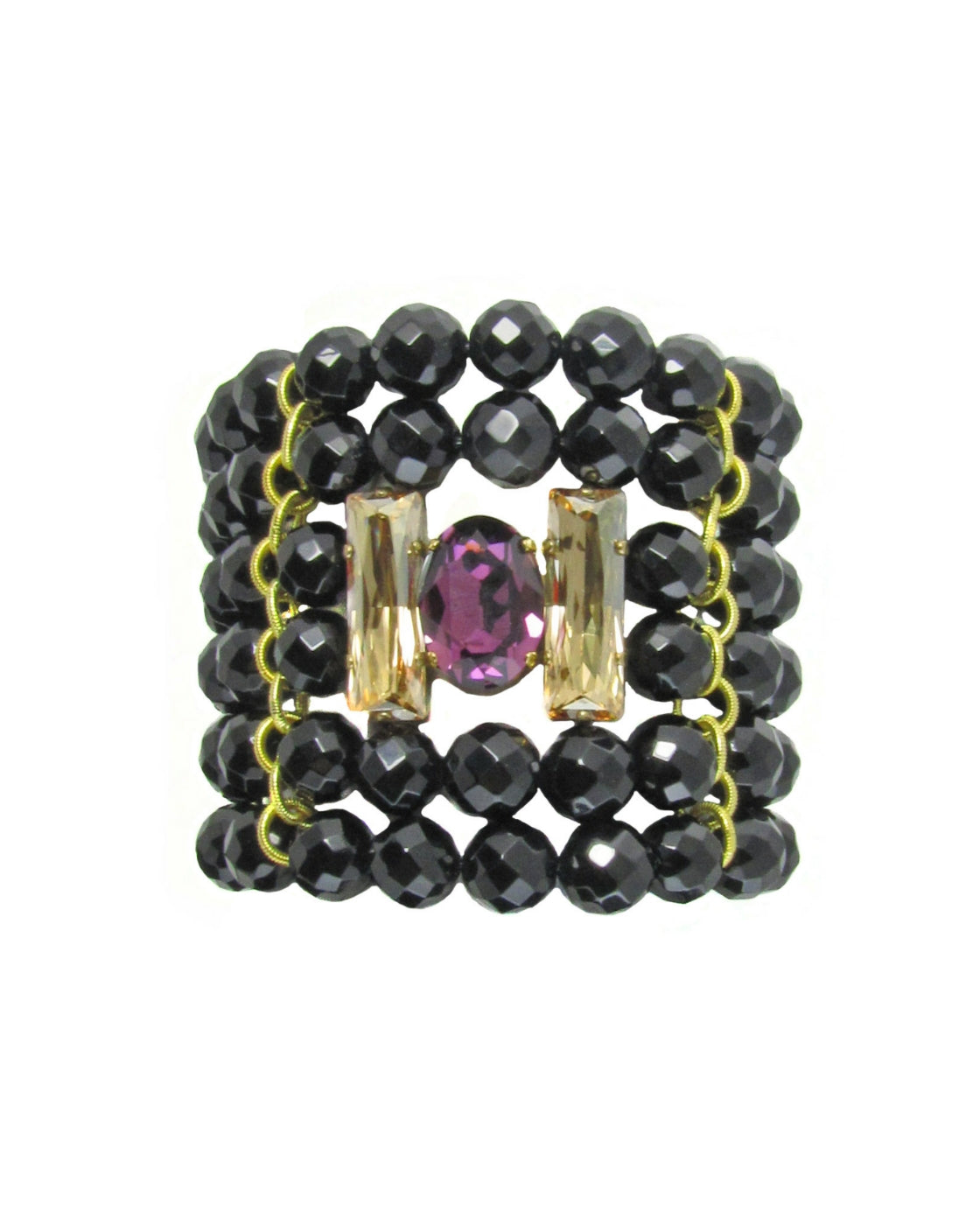 ERINA- Gemstone black bracelet with swarovski crystals - MARIA MOSS