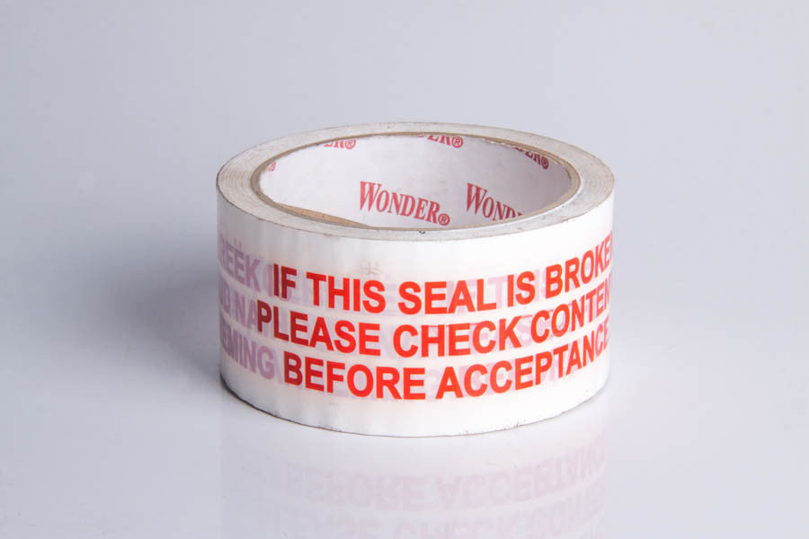TAPE WARNING 48X50M 1 COLOUR RED ON WHITE-ROLL