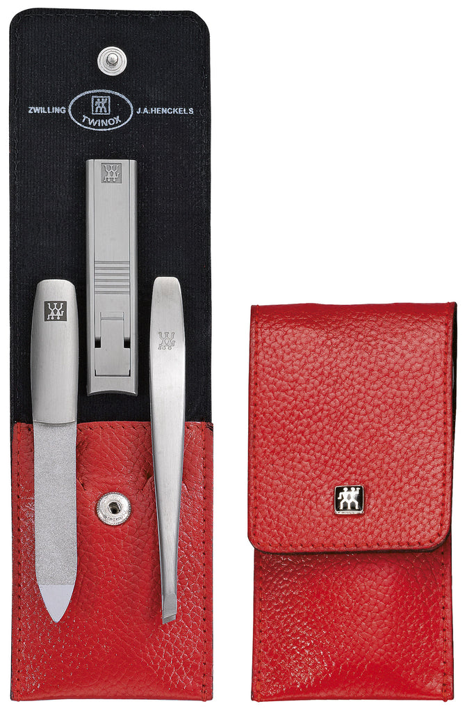 Pocket case, neat´s leather, red, 3 pcs.