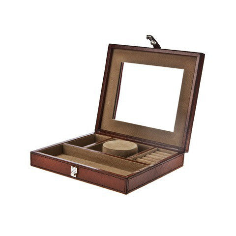 Victorian travel jewelry case, Cognac