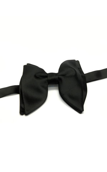 Black Satin Butterfly Bow Tie