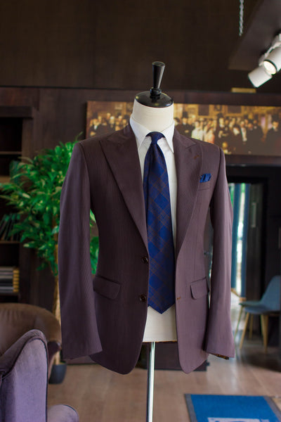 Blue and Brown Check 7-Fold Tie